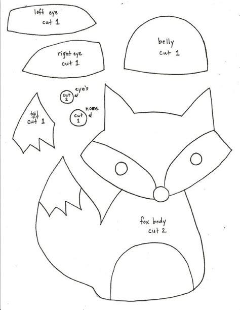 fox template printable fox pattern fox softie pattern templates