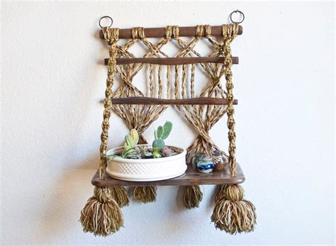 Macrame Hanging Shelf by Bohemian Style Hanging Macrame Shelf Plant Holder By