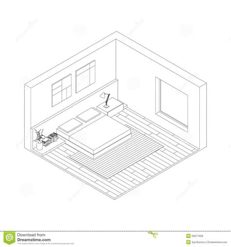 isometric view of bedroom bedroom stock vector image 55671029