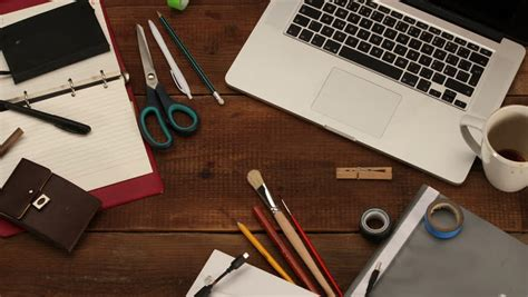 Office Desk Top View Stock Footage By Kreus