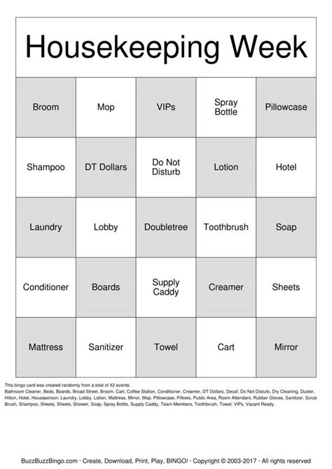 Housekeeping Bingo Cards to Download, Print and Customize!