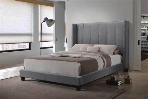 hudson grey velvet demi wing headboard cal king size bed