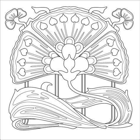 Art Nouveau Flower Colouring Page Pattern For Embroidery Nouveau Coloring Pages