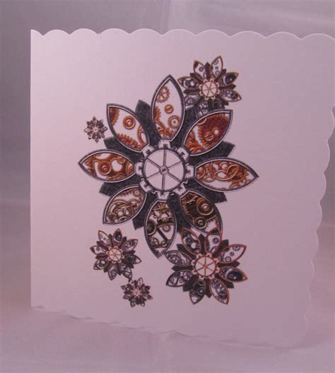 flower tattoo etsy steunk flowers blank card flower card flowers card