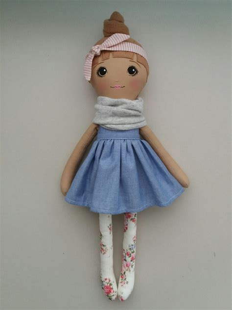 Handmade Soft Dolls - littlepretty handmade soft doll 55cm floral blue felt