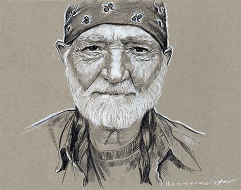 sketchbook toned paper prismacolor pencil sketch of willie nelson on toned gray
