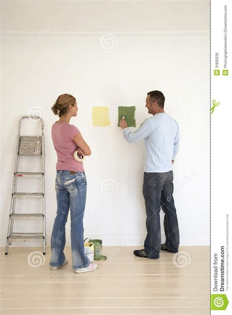 testing paint colors on wall stock photo