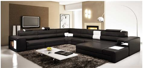 Large Modern Sectional Sofas Polaris Large Sectional Sofa In Black Leather