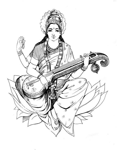 saraswati mata logo black and white clipart best