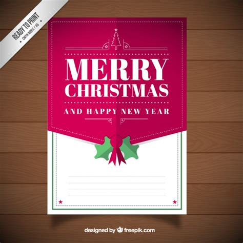 merry christmas  happy  year card template vector