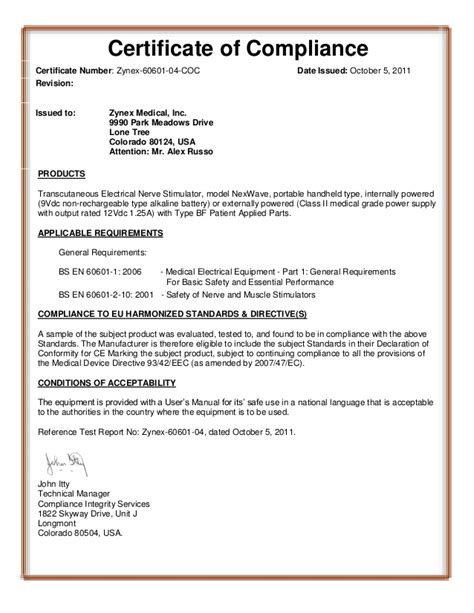 statement of conformity template certificate of conformance template
