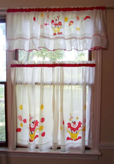 Nursery Valance Curtains Vtg Mid Century Modern Circus Clown Nursery Baby Childs Curtains Swag Valance Ebay