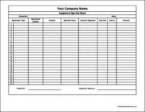 Equipment Sign Out Sheet Template by Equipment Sign Out Sheet Template