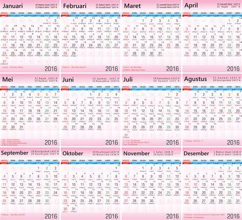 desain kalender indonesia 2016 kalender nasional indonesia 2016 search results