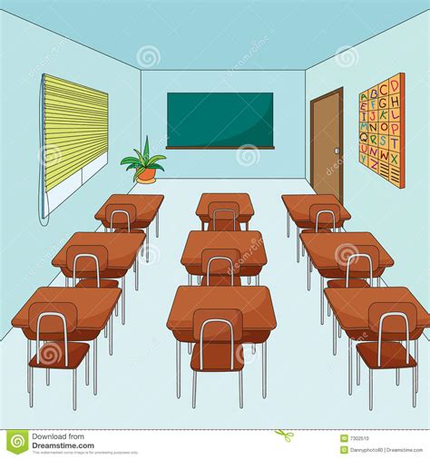 Inside an empty classroom illustration on a white background