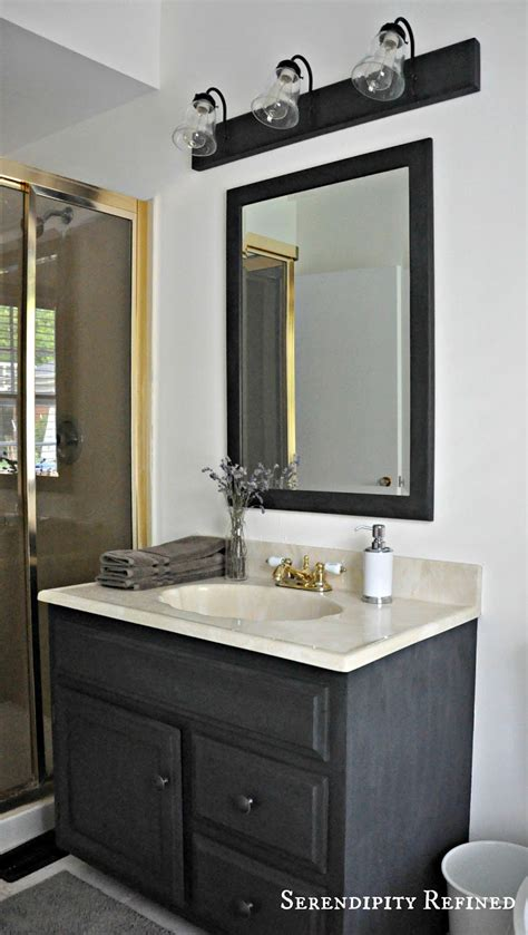 painting bathroom vanity black serendipity refined blog how to update oak and brass