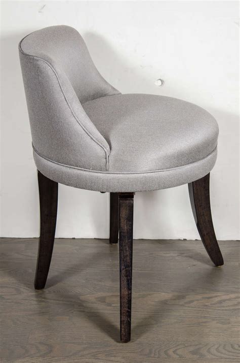 Swivel Vanity Stool 1940 S Swivel Vanity Stool In Platinum Sharkskin At 1stdibs