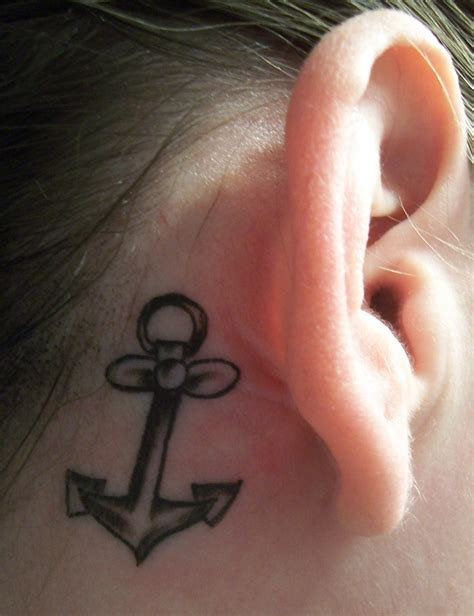 anchor tattoo behind ear meaning ear tattoo images designs