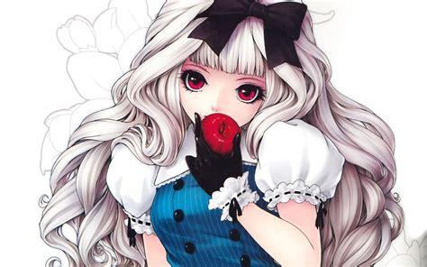 wallpaper apple girl download wallpaper 1440x900 anime girl eating apple hd