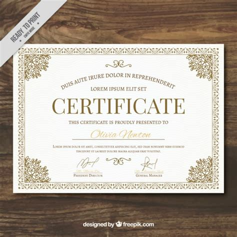 ornamental certificate template vector free