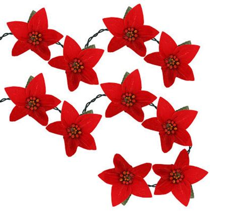 10 light red fiber optic poinsettia light set by sterling