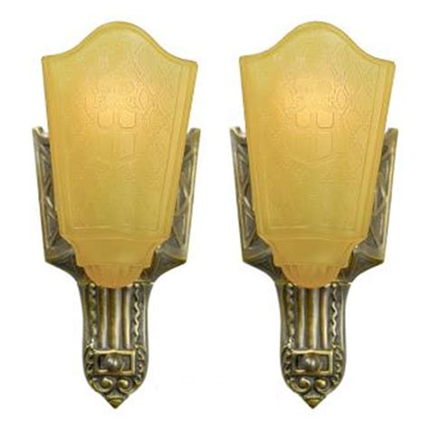moe bridges lighting company pair of deco slip shade antique sconces by moe