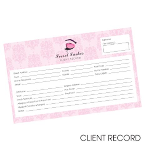 eyelash extensions record card template eyelash extensions client record cards a5 doublesided