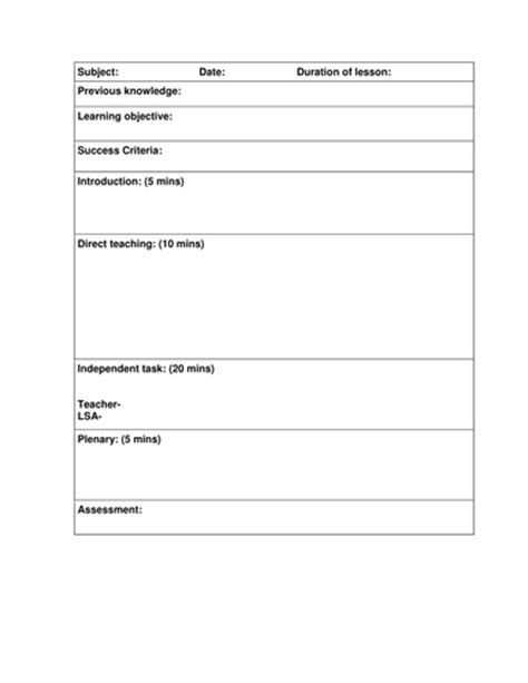 Weekly Lesson Plan Templates For Elementary Teachers Un Mission