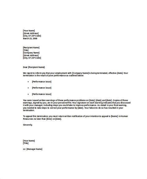 termination letter word excel documents