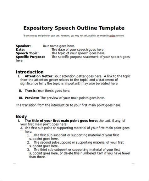 Communication Studies Expository Speech Sle sle speech outline exle 7 documents in pdf word