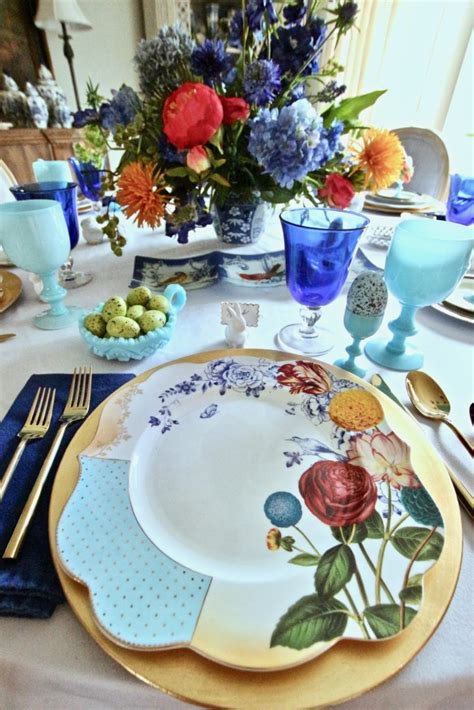 setting the table for easter dinner a colorful floral