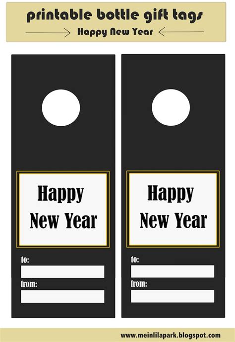Printable New Year Tags | free printable happy new year bottle gift tags tip junkie