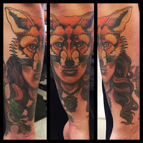 neo traditional tattoo neo traditional fox