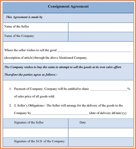 consignment sales agreement template consignment agreement template sales report template