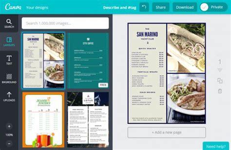 menu design maker come creare volantini online