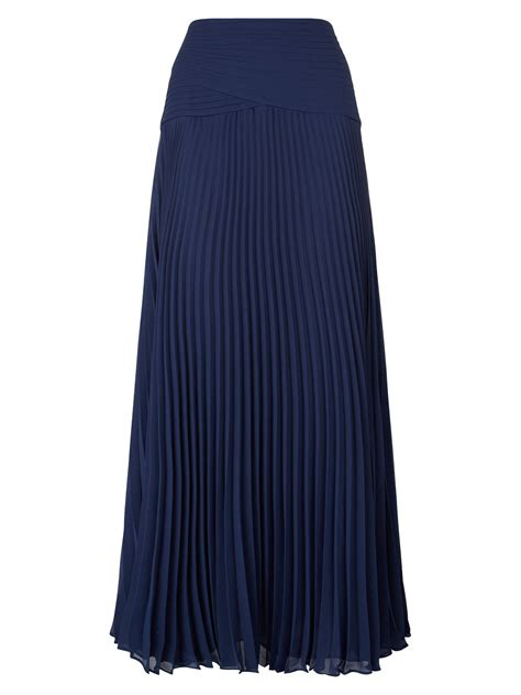 jacques vert navy pleated maxi skirt in blue lyst