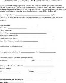 consent form template for children authorization for consent to treatment of