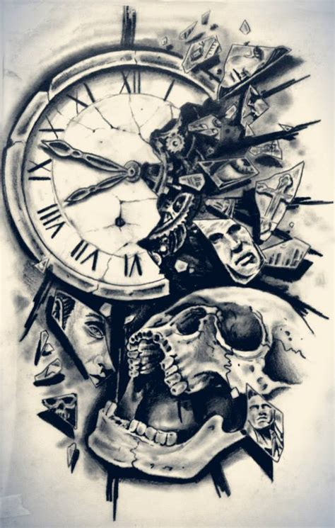tattoo ideas time clock with skull tattoo design http tattoobiter com