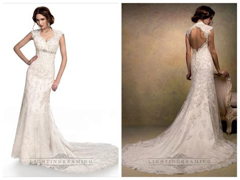 Wedding Hair For Keyhole Back Dress by Cap Sleeves Sweetheart Scalloped Neckline Beaded Lace