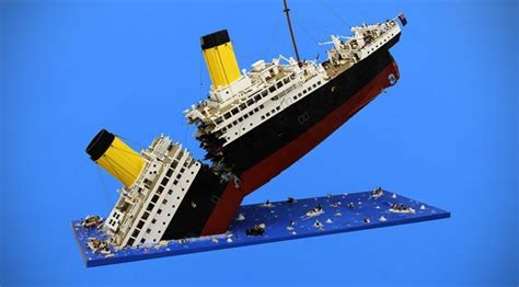 lego boat sinking in pool mind blown titanic s final moment recreated with lego