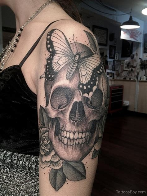 skull shoulder tattoo butterfly tattoos designs pictures page 14