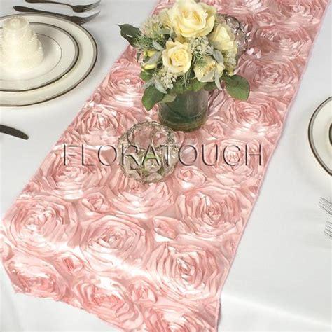 pink rosette table runner blush pink satin rosette table runner floratouch