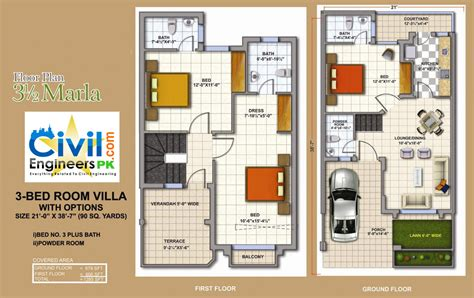 Aria 2 Bedroom Suite 3 5 marla house plan civil engineers pk