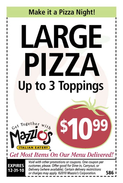 Printable Restaurant Coupons Okc   mazzios coupons