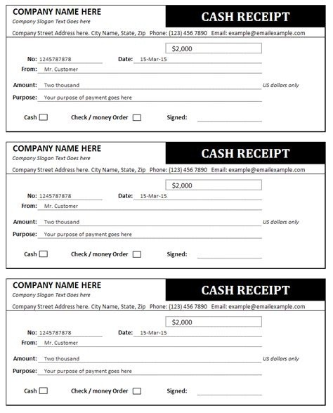 sample receipt for payment received salary slip format