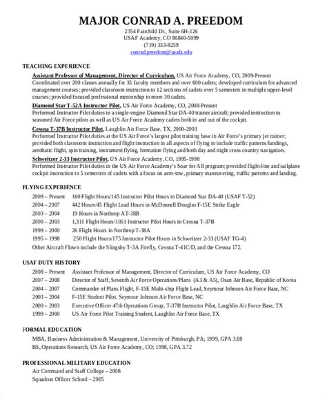 Pilot Resume Format by Pilot Resume Template 5 Free Word Pdf Document