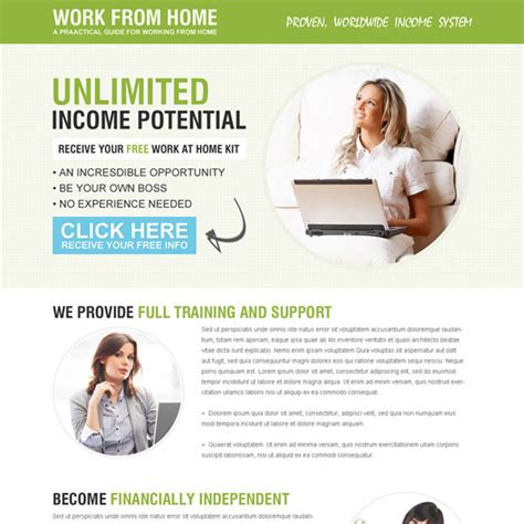 Work From Home Landing Page Design Template Exle To Earn Money Online Work From Home Template