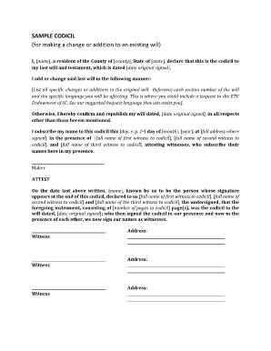 Codicil Form Fill Online Printable Fillable Blank Pdffiller Will Codicil Template