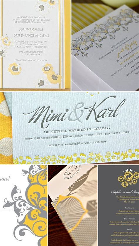 Wedding Invitations Yellow Paper by Yellow And Gray Wedding Invitations