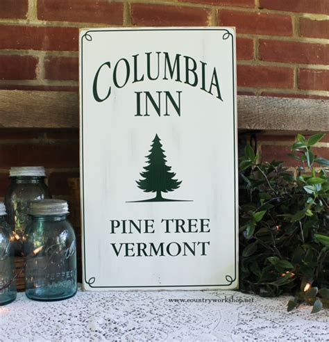 vermont pine xmas trees columbia inn pine tree vermont wood sign white design 2